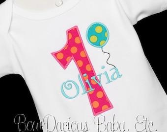 Personalized Number Birthday Balloon Shirt, Monogrammed, Custom Fabrics, Colors, and Font, Girls Birthday Shirt, Birthday Gift