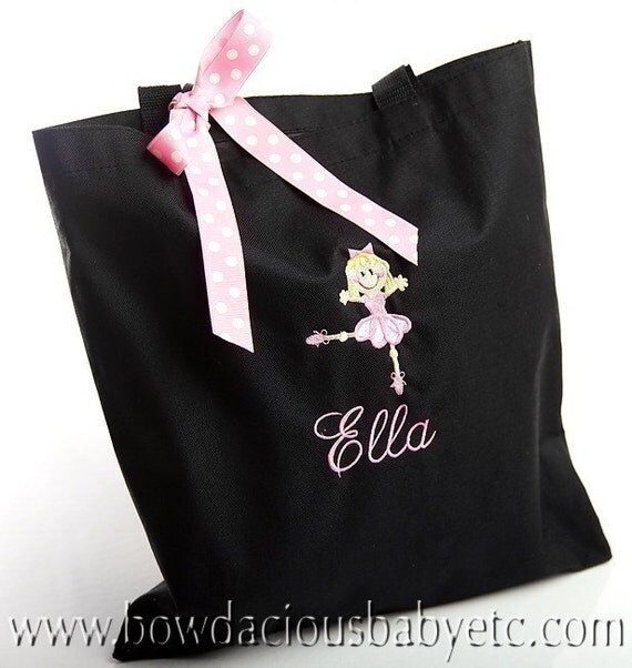 Personalized Ballet Dance Monogram Tote Bag with Ballerina, Customized