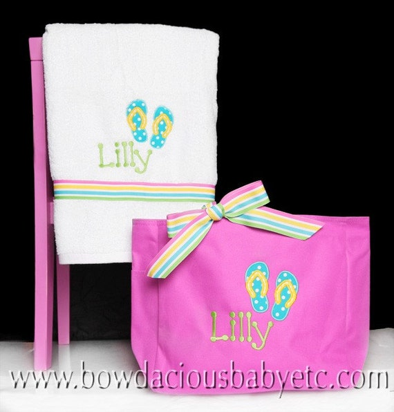 Monogrammed Beach Towel And Bag Set: Personalized Beach Tote Bag And Personalized Ribbon Towel