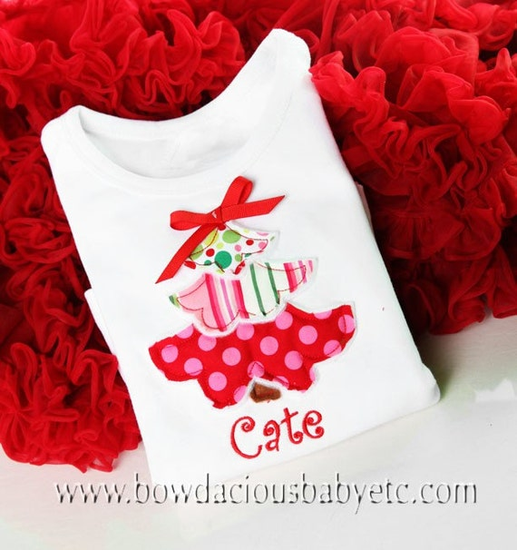 Personalized Plush Tiered Tree Appliqued Christmas Shirt, Long or Short Sleeves, White or Black, Free Personalization