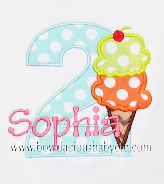 Personalized Kids Ice Cream Cone Birthday Shirt, Bodysuit, Any Age, Any Colors