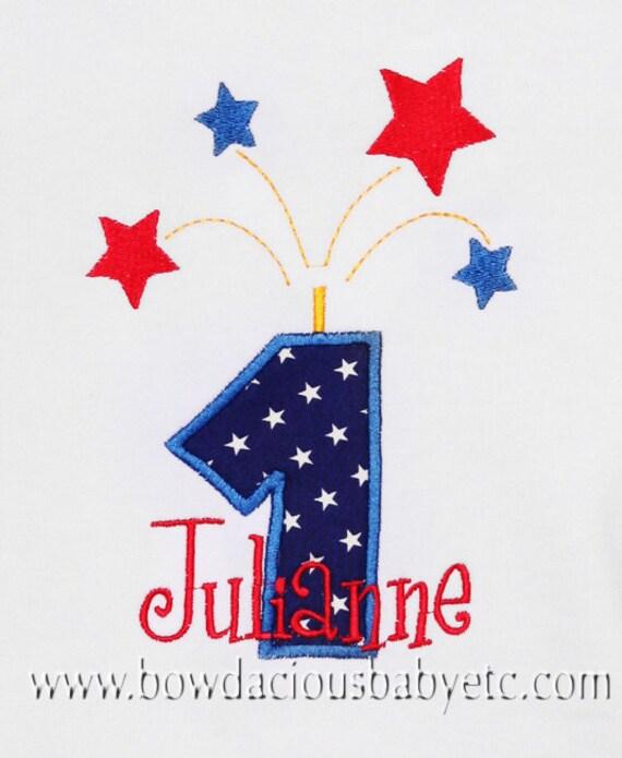 Personalized Birthday Firework Shirt, Firework Number, Appliqued, Custom Colors, Girls Birthday Shirt,Tank,Bodysuit,Romper, Gift