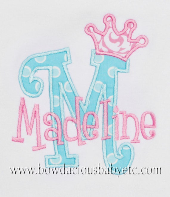 Personalized Initial Shirt, Princess Crown Initial, Monogrammed, Custom Colors, Girls Birthday Shirt,Shirt,Tank,Bodysuit,3m up to 12yrs,Gift