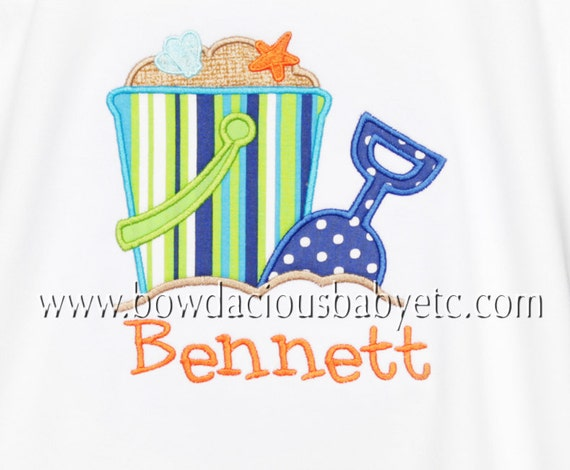 Custom Personalized Sand Bucket and Shovel Beach Shirt, Monogrammed, Appliqued, Custom Colors,Sizes 3m to 12yrs, Girls or Boys, Gift