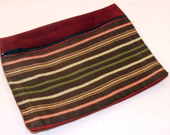 Red Striped Zipper Pouch