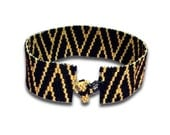 Black and Gold  Peyote Bracelet Cuff