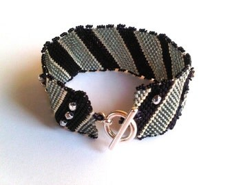 Black and silver peyote bracelet/cuff - MADE TO ORDER