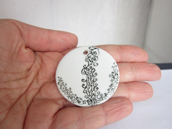Round Black and White ceramic pendant - OOAK