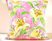 WEEKLY SPECIAL  2 for 18.00 Pillow Covers Floral Pink Yellow Green Tropical  Decorative Pair 18x18