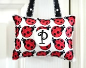 Ladybug Door Hanger Pillow - Red Black White - Polka Dots Inital Personalized