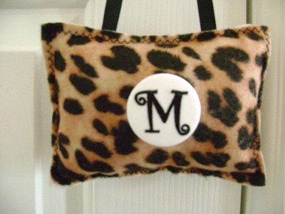 Door Hanger Pillow Brown Leopard Print  Felt  Personalized Initial Button Pin