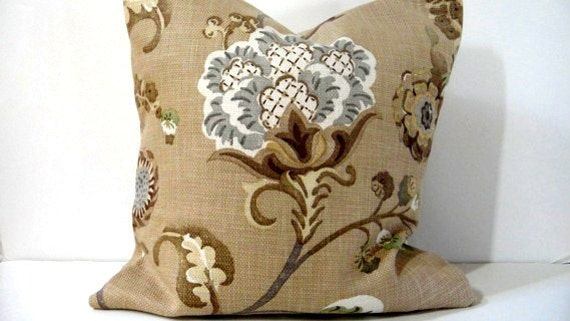 Pillow Covers Floral Sand Beige Gray Brown Mocha Natural Green
