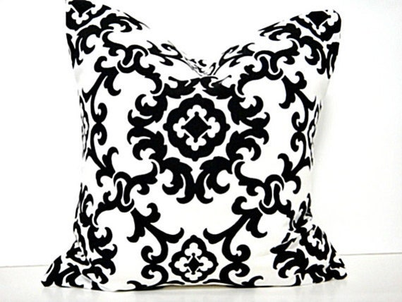 Damask Pillow Covers Black White Decorative Cushions Pair 16x16