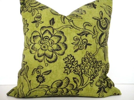 olive pillow cover floral green brown decorative cushion 18x18. Black Bedroom Furniture Sets. Home Design Ideas