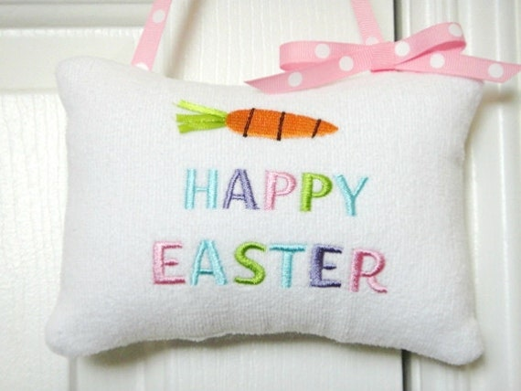 Easter Door Hanger Pillow White Pink Blue Green Purple Carrot Pastel Polka Dots Repurposed