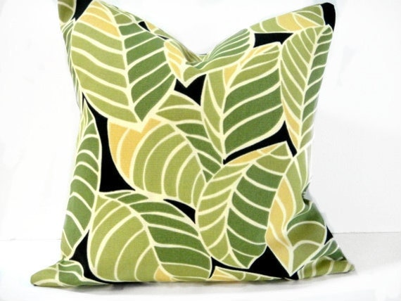 Pillow Covers Leaves Green Mustard Black Designer Decorative Abstract Modern Pair 16x16