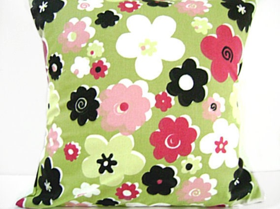Pillow Covers Floral Green Chartreuse Lime Magenta Pink Black White Retro  Decorative Cushions Pair 18x18