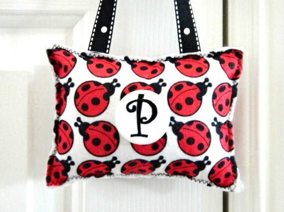 Ladybug Door Hanger Pillow - Red Black White - Polka Dots Inital Personalized