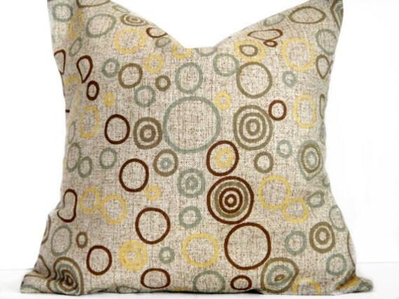 Brown Pillow Covers Tweed Circles - Green Olive Seafoam Mustard - Retro Decorative Pair 16x16