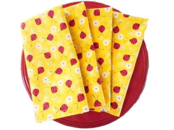 Yellow Cloth Napkins Ladybug Daisy Red White Black Reversible Eco Friendly 4 Piece Set