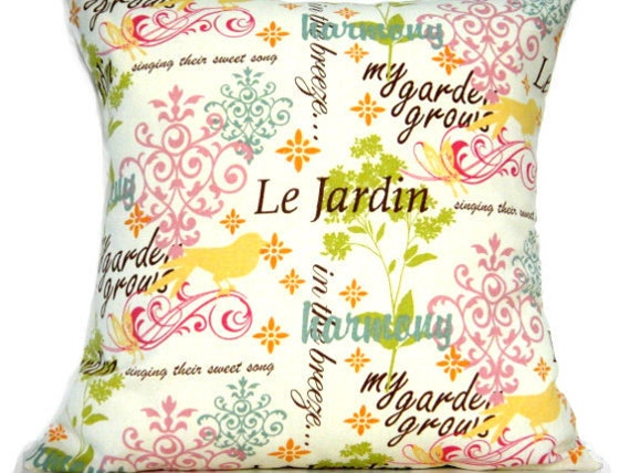 French Pillow Covers - Cream Sage Green Turquoise Rose Mustard Magenta Orange Brown - Decorative Pair 18x18