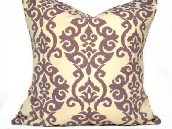 Purple Damask Pillow Covers Cream Designer Decorative Pair 16x16