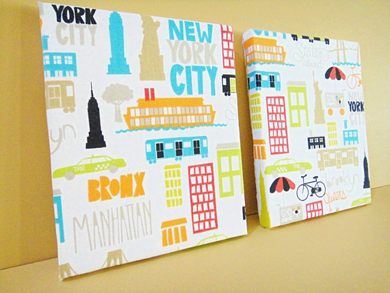 Wall Hanging Canvas Fabric - New York Scenes Statue of Liberty Empire State Building - White Black Orange Turquoise Lime Green Red Pair 8x10