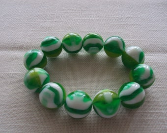 Green and White Glass Marble Bracelet