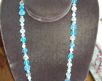 Blue and White Sparkle Crystal Glass Necklace