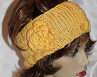 Knit Headband with Crocheted Flower Yellow