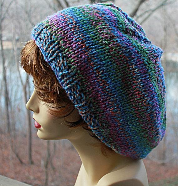 Slouchy Hat - Hand knit - Colorful Tweed Acrylic Yarn - Warm