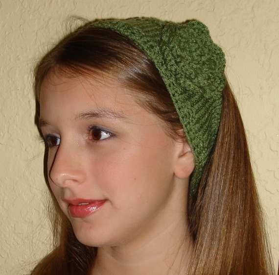 Knit Headband with Crocheted Flower Green