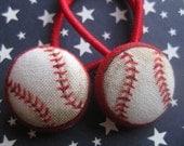 Set of 2 Red Baseball Hair Ties Pigtail Ponytail