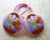 Flower Matryoshka Pink Big Ponytail Holders Russian Dolls