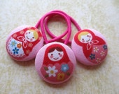 Hot Pink Matryoshka Hair Tie Set of 3 pcs Russian Doll Ponytail Pigtail