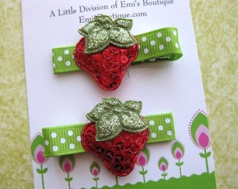 Shiny Strawberry Hair Clip with Non Slip Set of 2