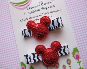 Minnie Mickey Inspired zebra RED Mouse Hair Clips