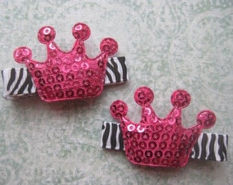 Zebra and HOT PINK Tiara Hair Clips