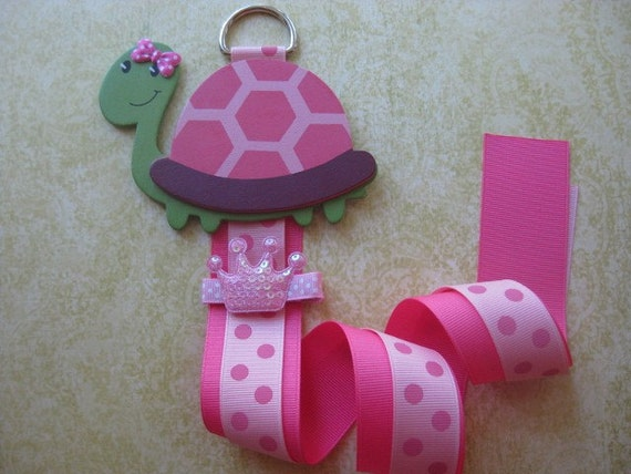 Hot Pink Turtle Bow Holder Clip Organizer with a BONUS CLIP