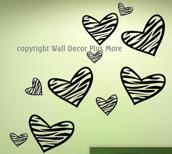 "Zebra Print HEART Wall Vinyl Sticker Decal 10 pc 8"" - 2"""