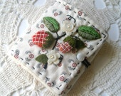Reserved for Sandy- Strawberry Stumpwork Embroidery Needlecase- Made to Order