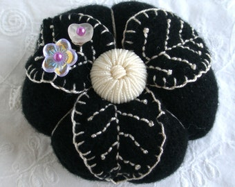 Pincushion The Oreo Cashmere Pincushion in soft black and creamy white- Made to Order