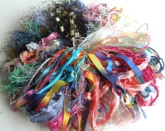 20 Art Yarn Assortment in Mulitiple Colorways and Textures, Over 200 Feet of Fiber