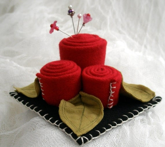 Wool Rose Pin Cushion- Made to Order