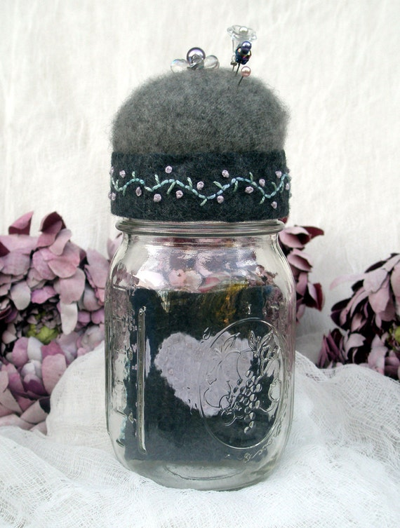 Jar Pincushion in Gray recycled wool with needle book and embroidery