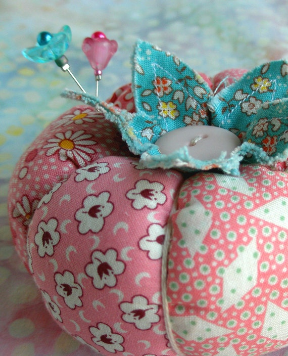 1930's Inspired Patchwork Tomato Pincushion In Pink and Red -Made to Order