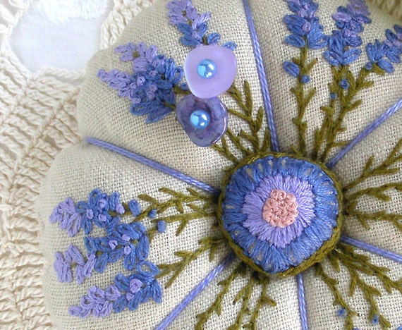 Reserved for Suzanne- Lavender Pincushion Hand Embroidered- Made to Order