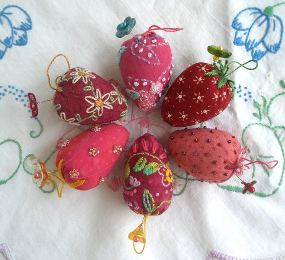 Reserved for Robin Assorted Strawberry Emery Pin Cushions