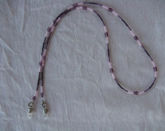 Eye Glass Holder-Pink and Purples with Pressed Bead Spacer