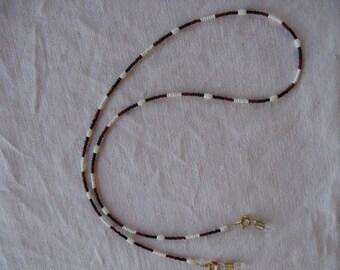 Eye Glass Holder-Earthtones with Coral Rice Bead